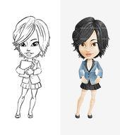 Girl Cartoon Character With Short Haircut Tooncharacters Girl Cartoon Characters Female Cartoon Characters Girl Cartoon