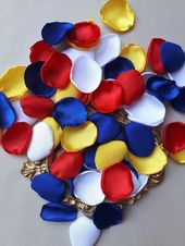 Snow White Rose Petals Mix Snow White Party Decor Snow White Baby Shower White Yellow Red & Blue Satin Petals Flower Girl Basket Disney