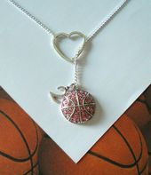 Pink Basketball Lariat Necklace with Rhinestones, Heart and Number Pendant, Handmade – what I want for Christmas