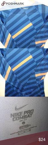 Nike Pro Combat Dri-Fit Blue/Orange Women's L/S XL Nike Pro Dri-Fit Long Sleeve Shirt XL Fitted Size Blue and Orange Color Pattern Nike Swoosh on …