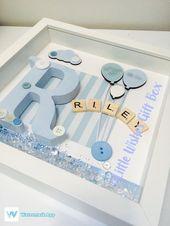 Cadre de boîte de naissance pour bébé garçon / enfant, nouveau bébé, décor de chambre d'enfant, …   – Bilderragmen