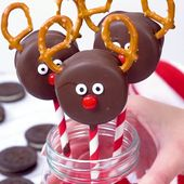 Chocolate Covered Oreo Reindeer Cookies   – food
