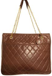 Chanel Quilted Chain Handbag Vintage Brown Leather Tote