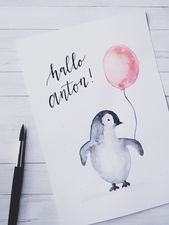 Baby Pinguin #diy #watercolor #watercolorpainting #aquarell #babyboy    – Mal Inspirationen