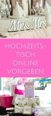 Einen Hochzeitstisch online vorgeben