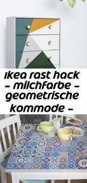 Ikea rast hack – milchfarbe – geometrische kommode – moderne möbel im boho-stil, #bohostil #… 3
