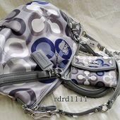 coach pink and gray purse fyuo  Coach Madison op art clover Large blue & grey handbag