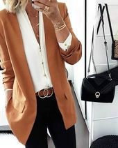 Long Sleeve Lapel Pockets Blazers Coats