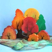 Holzspielzeug – Holzbaum Herbstwald, Herbstwaldspielset / Waldorfspielzeug … – Holz Tisch DIY