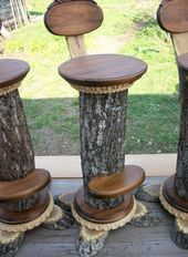 Turn tree stumps and logs into unique chairs / stools – #tree stumps #decoration bathroom #turn #unique