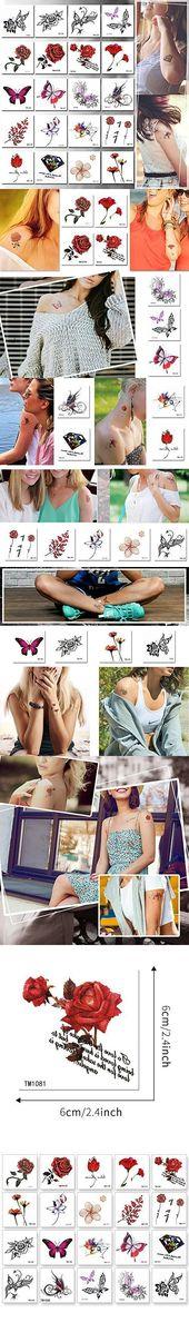 Temporäre Tattoos für Mädchen, 20 Stück Sticker Tattoos Flower Tattoos Fake Tattoos Rose, Tie… – Tätowierung Blog