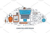 Illustrator Workspace Vector illustration. Engineering and architecture. Drawing, construction. Archit...