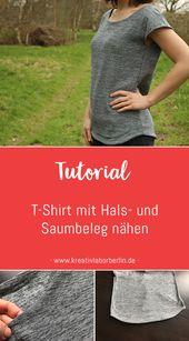Nähen Sie das T-Shirt mit einem Ausschnitt und Saum   – Nähen