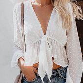 Transparent White Shirt Lantern Sleeve Crop Top