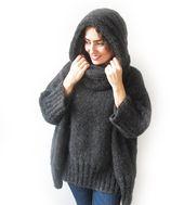 Handgestrickter Pullover, Ziehharmonika-Kapuze, Übergrößen-Pullover, Übergrößen-Pullover, Handgestrickter Pullover,