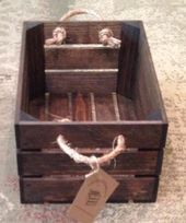 Small Wood Crate With Rope Handles 15 Quot L X 10 Quot W X 7 Quot D Crates Decorative Crate Apple Crate Organizers Wood Crates Crates Wooden Boxes