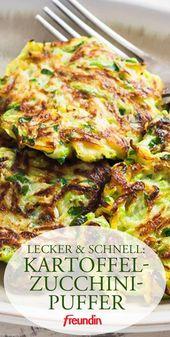 Ein leichtes Gericht für Mittags und Abends. Kartoffel-Zucchini-Puffer schmecke… – Gesunde Rezeptideen für Mittagessen und Abendessen