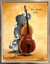 Sie spielen Cello – Otto Waalkes Gemälde