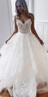 [295.50] Romantiska Tulle Spaghetti Remmar Halsring Ball Klänning Bröllopsklänningar med …