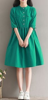 Women loose fit over plus size dress green button skater skirt casual fashion