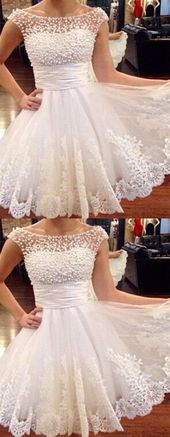 White Appliques Short Pearls Homecoming Dress, Elegant Tulle Prom Dress   – Products