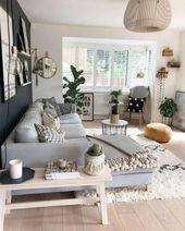 40 bezaubernde skandinavische Wohnzimmer-Design-Id…