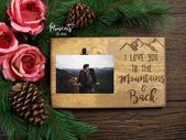 I Love You Boyfriend Gift, Husband Gift, Rustic Picture Frame, Camping Gift for Him, Birthday Gift Idea, Anniversary Gift, Valentines Gift