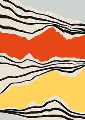 Mitte Jahrhundert abstrakte Grafik, modernistische Abstraktion, Strichzeichnungen, zeitgenöss…