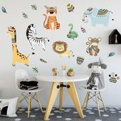 Childrens Jungle Animals Giraffe, Lion, Monkey & Elephant Wall Stickers, Jungle Animal Wall Decals –