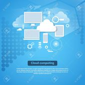 Cloud Computing Technology Template Web Banner With Copy Space Flat Vector Illustration Illustration , #sponsored, #Template, #Web, #Technology,
