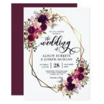 Geometrische Hochzeitseinladung Boho Bordo | Zazzle   – Wedding invitations