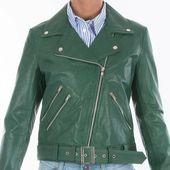 Grüne Lederjacke Damen