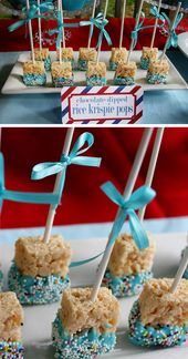 Rice Krispie Treats for a Boys Baby Shower