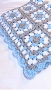 Granny Square Baby Blanket Blue and Grey Gray Crochet Stroller Car Seat Crib Afghan Handmade Homecoming Shower Gift Photo Prop – crochet