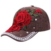 Discount baseball capwomen men adjustable flower rhinestone denim mesh cap hat – Products