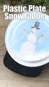 Plastic Plate Snow Globe Craft