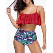 Free shipping 2018 Printed High Waist Flounce Bikini Set RED L under $20.51 in B…