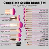 JAF 26 stücke Gold Make-Up Pinsel Set mit Reißverschluss Kosmetiktasche Make-U