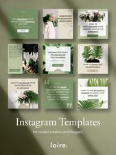 Instagram template pack for bloggers and content material creators, Instagram put up templates, social media branding design package