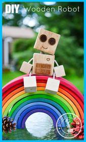 Einfache Holzprojekte für Kinder >> DIY Wooden Robot Buddy: Einfaches Projekt für Kinder | Holzbearbeitung …