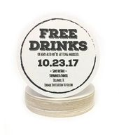 Heavyweight FREE DRINKS Personalized Paper Coasters – Perfect for Save the Dates, Weddings Invites, Engagement Party, Shower