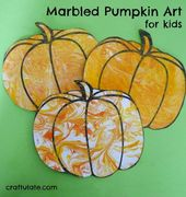 Marbled Pumpkin Art for Kids – a fun project for fall
