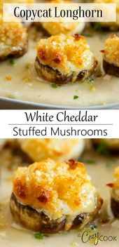 Copycat Longhorn White Cheddar Stuffed Mushrooms