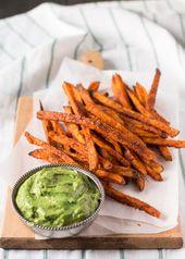 crispy sweet potato fries with avocado coriander dip sideview