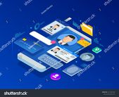 Isometric Personal Data Information App Identity Stock Vector (Royalty Free) 1311981440