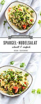 Ensalada de pasta vegana de espárragos verdes: ¡perfecta para asar a la parrilla!   – Vegane Rezepte