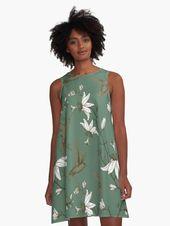 Hawaii Retro Blumen Floral + Vögel  Muster Tropical Grafikart Design