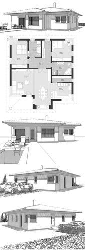 Grundriss eines modernen Fertighauses mit Walmdach und Anbau – einst …   – Haus