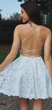 Photo of Stunning Lace Spaghetti Strap Lace Up Back Backless Homecoming Dresses,BD0188