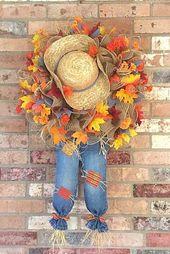 Fall Scarecrow Wreath, Scarecrow Door Hanger, Fall Door Wreath, Fall Decor, Rustic Fall Wreath, Autumn Decor